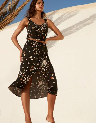 Atmos zwarte gebloemde jurk