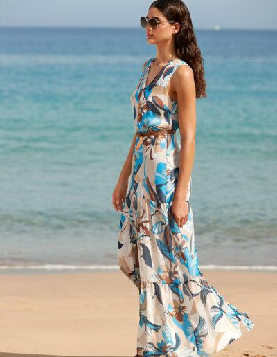 Atmos blauwe gebloemde jurk