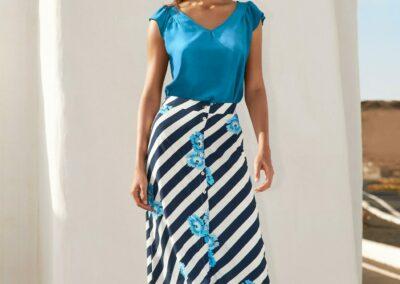 Atmos gestreepte blauwe rok met blauwe top