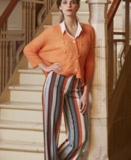 Amelie&Amelie gestreepte blauw/oranje broek
