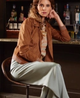 Amelie&Amelie licht blauwe broek/bruin jasje
